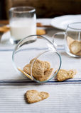 Cookies, the Shape of Hearts in Jar Royalty Free Stock Images
