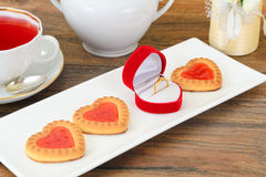 Cookies in the Shape of Hearts Royalty Free Stock Photos