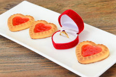 Cookies in the Shape of Hearts Stock Image