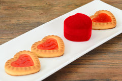 Cookies in the Shape of Hearts Stock Images