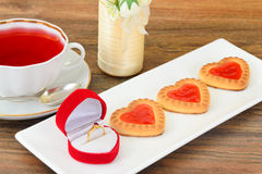 Cookies in the Shape of Hearts Royalty Free Stock Photography