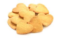 Cookies in shape of hearts on Valentine`s Day Royalty Free Stock Image