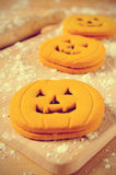 Cookies in the shape of jack-o-lanterns Stock Images