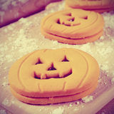 Cookies in the shape of jack-o-lanterns, vignetted Stock Photos