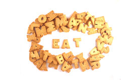 Cookies in shape of letters on white background Stock Photos