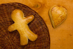 Cookies in the shape of a man and heart Royalty Free Stock Image