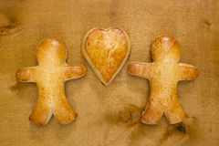 Cookies in the shape of a man and heart Stock Photo
