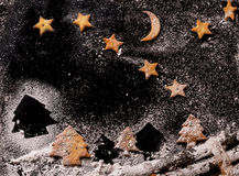 Cookies in the shape of stars and Christmas trees Royalty Free Stock Photo