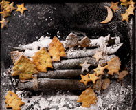 Cookies in the shape of stars and Christmas trees Royalty Free Stock Photography
