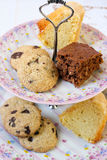 Cookies, slice of chocolate and vanilla cakes Royalty Free Stock Image