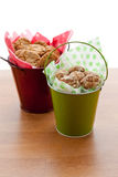 Cookies in small buckets. Royalty Free Stock Photo