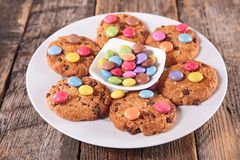 Cookies with smarties Royalty Free Stock Photography