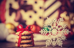 Cookies and snowflake Royalty Free Stock Images