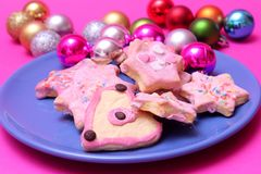 Cookies. Some colourful cookies on a plate royalty free stock images