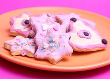 Cookies. Some colourful cookies on a plate Stock Photos