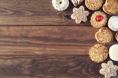 Cookies. Some german cookies on wooden board. Background Stock Image