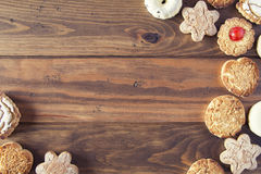Cookies. Some german cookies on wooden board. Background Stock Photos