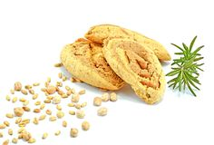 Cookies of soybeans and grains of wheal with twig of rosemary on white background stock photo