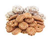Cookies and spice-cakes isolated. Royalty Free Stock Images