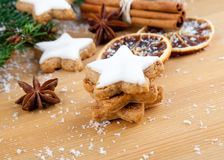 Cookies with spices and Christmas decor Stock Images