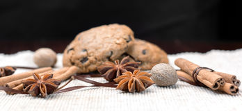 Cookies and spices. A cover with cookies, anice, cinnamon and nutmeg Stock Photography
