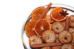 Cookies, spices and dryed oranges Stock Photos
