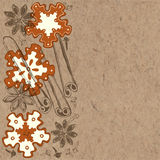 Cookies and spices on kraft  background. Vector illustration. Royalty Free Stock Photography