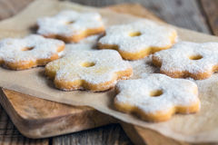 Cookies sprinkled with powdered sugar close-up. Stock Image