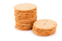 Cookies. Stack of round cookies isolated on white background Stock Photo