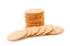Cookies. Stack of round cookies isolated on white background Royalty Free Stock Images