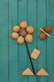 Cookies Stacked as Flower and Bee on Wooden Board Stock Photos