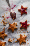 Cookies stars with jam. Cookies as stars with jam royalty free stock image
