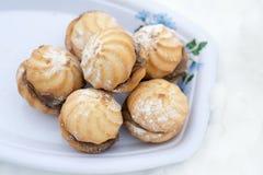Cookies in sugar powder. Photo appetizing pecheneya in sugar powder Royalty Free Stock Photo