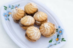 Cookies in sugar powder. Photo appetizing shortbread in sugar powder cooked at home Royalty Free Stock Image