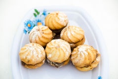 Cookies in sugar powder. Photo appetizing shortbread in sugar powder cooked at home Stock Photos