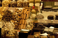 Cookies and sweets in store. Christmas Cookies, sweets and cookies in bags in a store counter stock images