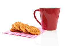 Cookies with syrop, typical Dutch stroopwafels Stock Images