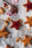 Cookies on the table. Cookies as stars with jam stock images