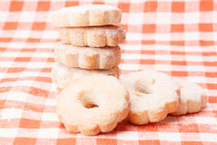 Cookies on a tablecloth red and white checkered background Stock Photo