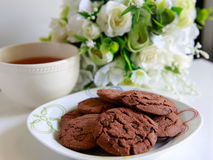 Cookies and tea. Cookies and a ccup of  tea Stock Photo