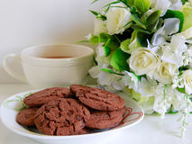 Cookies and tea. Cookies and a cup of  tea Royalty Free Stock Image