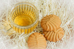 Cookies and tea cup. In relaxing time Royalty Free Stock Photos