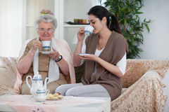 Cookies and tea with grandma Royalty Free Stock Photography