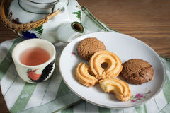 Cookies with tea kit Royalty Free Stock Photography