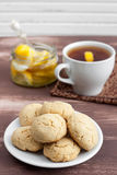 Cookies and tea. With lemon stock image