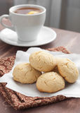 Cookies and tea. With lemon stock photography