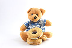 Cookies. Teddy bears and cookies on a white background Royalty Free Stock Photography