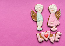 Cookies with the text of love and angels Royalty Free Stock Photos