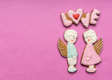 Cookies with the text of love and angels Stock Images