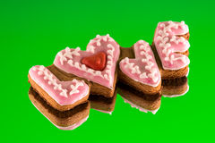 Cookies with the text of love and red heart Stock Image